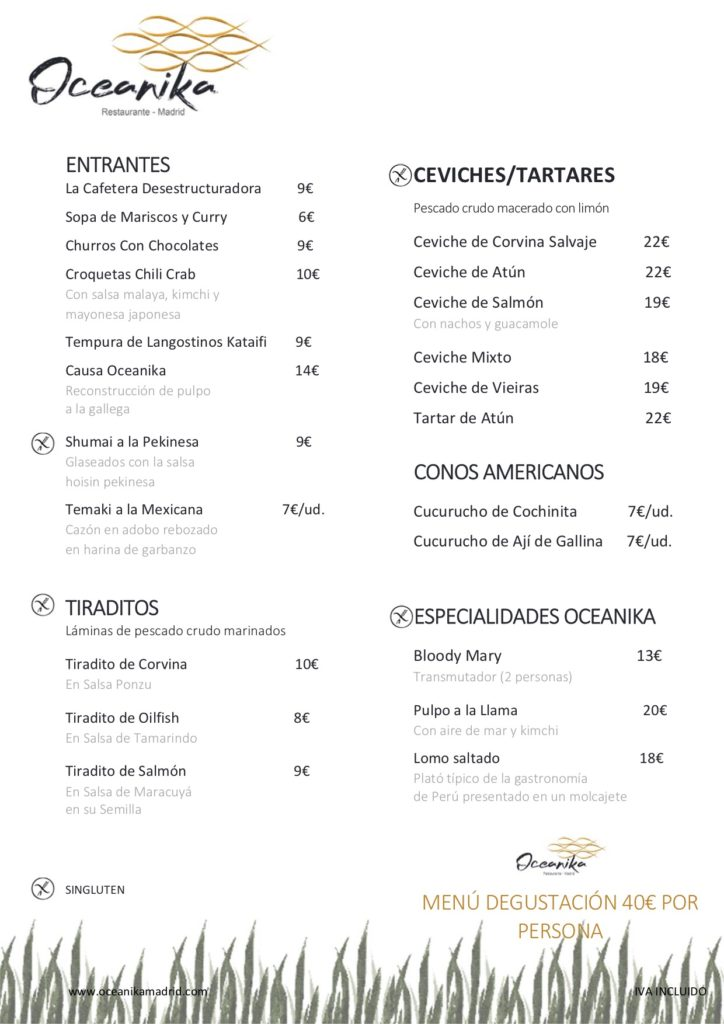 Carta Oceanika Madrid Restaurante peru